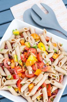 Summer Pasta Salad Recipe - Healthy, no mayo pasta salad with bell peppers, tomatoes and a simple oil and apple cider vinegar dressing. Vegan, clean eating