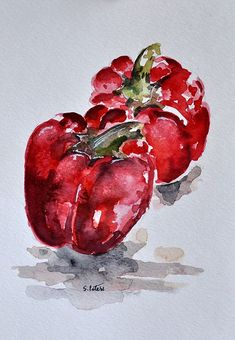 ORIGINAL Watercolor Painting, Red Peppers, Garden Vegetable Painting, Still Life 6x8 Inch