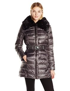 DL2 Womens Gabby Belted Down Coat with Faux Fur Trim Hood Gunmetal Medium -- Click image to review more details. (Note:Amazon affiliate link)