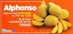 Get 50% cash back up to Rs.5000 on buying #FreshMangoesOnline at #salebhai only on 12th & 13th April 2017. Buy carbide-free mangoes at great prices.