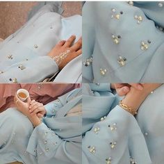 Blue abaya with pearl EID collection . Abaya Designs, Blouse Designs, Abaya Fashion, Muslim Fashion, Modest Fashion, Fashion Outfits, Fashion Trends, Abaya Mode, Mode Hijab