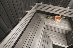 Grey: nice colour for a sauna Modern Saunas, Portable Steam Sauna, Sauna Kits, Sauna Shower, Sauna Design, Finnish Sauna, Spa Rooms, Home Spa, Interior Decorating