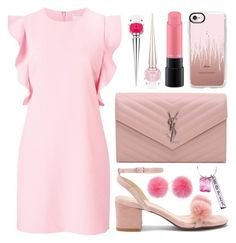 """""""Who do you wear pink for? 🎀 🎀 🎀"""" by iris913 ❤ liked on Polyvore featuring Witchery, Raye, Yves Saint Laurent, Casetify, MAC Cosmetics, Christian Louboutin, Pink Box, Wild & Woolly, Pink and breastcancerawareness"""