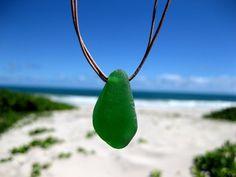 Hawaiian Beautiful Emerald Green Beach Glass on Double Strand Genuine India Leather Cord Necklace by LindseysBeachGlass, $37.00