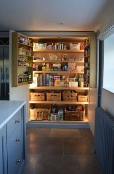 To make the pantry more organized you need proper kitchen pantry shelving. There is a lot of pantry shelving ideas. Here we listed some to inspire you Kitchen Pantry Design, Open Plan Kitchen, New Kitchen, Kitchen Storage, Kitchen And Bath, Kitchen Rustic, Kitchen Ideas, Kitchen Decor, Kitchen Country