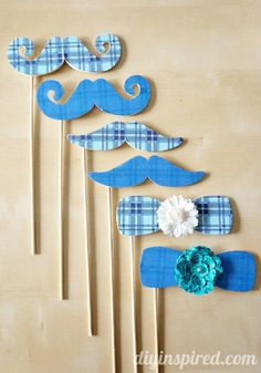 How to make easy Mod Podge Photo Booth Props----can use a boy baby shower for a game...guess the weight or birthdate  or mom's belly size..write on back of prop