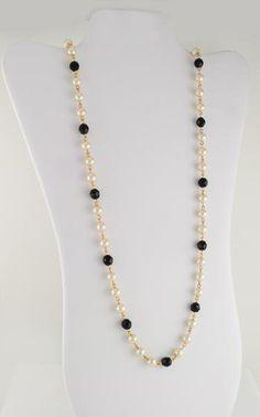 "36"" Cream Glass Pearl & Black Onyx Austrian Crystal Bead Necklace #StrandString"