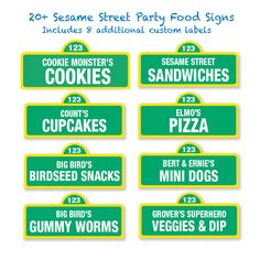 Sesame Street Printable Food Labels / 20 and Custom Labels - Sesame Street Birthday Party DIY / Party Signs / Food Signs by PartiPartieParty on Etsy https://www.etsy.com/listing/193163375/sesame-street-printable-food-labels-20