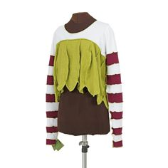 Seussenfrocke shrug with ubersleeves in maroon, white and muckgrass green - Secret Lentil Clothing