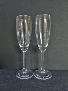 Nicolas Feuillatte Champagne Glass Pair 100 ml Transfer Printed Breweriana