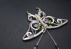 Elven necklace Amethyst butterfly - Delicate silver wire-wrapped pendant - Amethyst and chrysolite pendant necklace