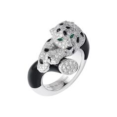 Panthère de Cartier II diamond, onyx, emerald and enamel ring.