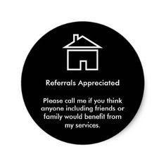 Realtor Referral Appreciation Classic Round Sticker - realtor real estate agent business diy personalize