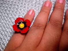 Blood Red Large Flower Ring Big Flower by FashionCrashJewelry, $8.99