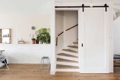 Open staircase in the living room, incl. Stairs cupboard, Open staircase in the living room, incl. Attic Renovation, Attic Remodel, My Living Room, Home And Living, Open Trap, Backyard House, Attic Stairs, Open Staircase, Ideas Hogar