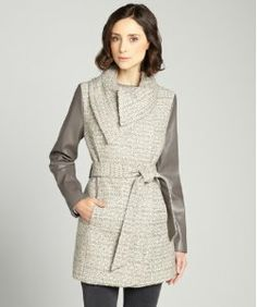 T Tahari macrame 'Alba' belted tweed w/faux leather sleeve coat