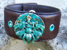 Queen Bee Leather Bracelet Cuff. $25.00, via Etsy.