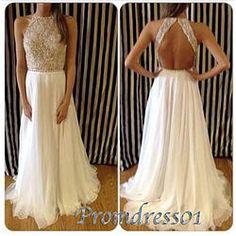 #promdress01 prom dresses - 2015 creamy white chiffon backless long slim prom dress for teens, bateau neckline evening dress, beaded ball gown #coniefox #2016prom