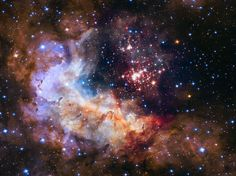 Star cluster Westerlund 2. Hubble 25th anniversary image. Young stars flaring to life resemble an exploding shell in a fireworks display. The giant star cluster is only about two million years old, but contains some of the brightest, hottest and most massive stars ever discovered. The red dots are a rich population of forming stars that are still wrapped in their gas and dust cocoons. (Credit: NASA/ESA Hubble Space Telescope)