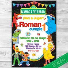 Sesame Street Invitation Spanish - Plaza Sesamo Invitacion - Español - Spanish - Elmo, Big Bird, Cookie Monster- Personalizada by DsInvitations on Etsy