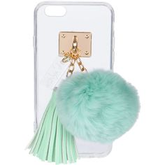 Ashlyn'D Transparent iPhone 6 Case w/ Fur Pompom featuring polyvore women's fashion accessories tech accessories phone iphone phone case tech aqua