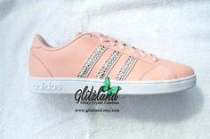 Ships Within 3 Business Days!! Swarovski Adidas Women's Size 7.5 Peach Neo Baseline Shoes Blinged with SWAROVSKI® Crystals