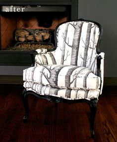 Tree fabric on reupholstered chair. Black & white.