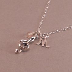 Music Necklace Sterling Silver Treble Clef by SixSistersBeadworks