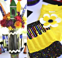 #crayola #party - decorations, cake, food, favors (crayon roll), activities, set-up of craft table, etc