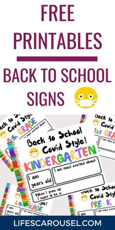 Free printable back-to-school signs! Perfect for in-person or virtual school. Celebrate your child's return to school with these free first day of school signs that you can print at home. Pre-K, Kindergarten, 1st grade, 2nd grade, 3rd grade, 4th grade and 5th grade. Single Parenting, Parenting Advice, Kids And Parenting, Last Day Of School, School Stuff, Back To School, School Signs, School Photos, School Organization
