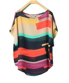 color block chiffon shirt
