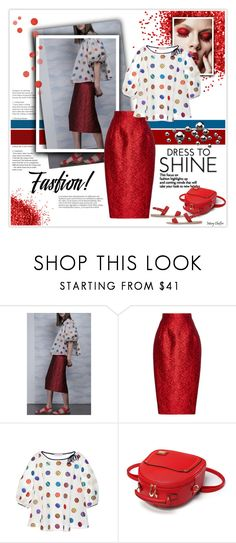"""""""Dress to shine"""" by mcheffer ❤ liked on Polyvore featuring Dice Kayek, Ancient Greek Sandals, dots and Floralskirts"""