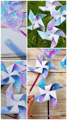 How to Make Pinwheels-with Free Printable Template - The Kitchen Table Classroom Learn how to make pinwheels with these easy paper pinwheel templates. Upcycle your kid's artwork, use scrapbook paper, or draw your own paper pinwheels! Easy Crafts For Kids, Summer Crafts, Toddler Crafts, Creative Crafts, Preschool Crafts, Easter Crafts, Art For Kids, Classroom Crafts, Summer Diy
