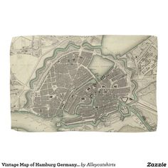 Vintage Map of Hamburg Germany (1841) Hand Towels
