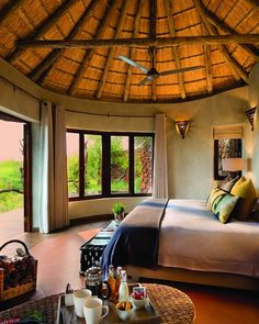 African Hut, Round House Plans, Lodge Bedroom, House Plans South Africa, Bamboo House Design, Hut House, Thatched House, Adobe House, Cabana