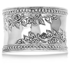 Allurez Fashion Cuff Bracelet Etched Floral Design 45mm Wide Sterling... ($430) ❤ liked on Polyvore featuring jewelry, bracelets, accessories, bangle cuff bracelet, bead jewellery, floral cuff bracelet, cuff bangle and wide cuff bracelet