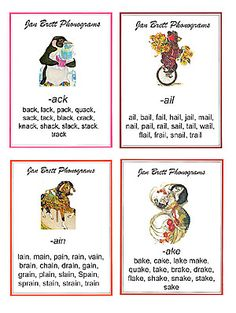 Jan Brett flash cards. Good for word family practice. She's one of my favorite author/illustrators!!!