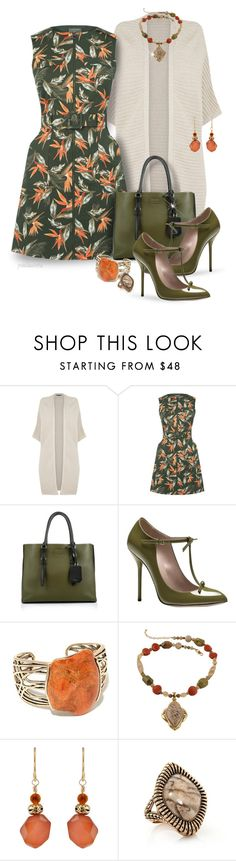 """""""Oasis Palm Safari Dress"""" by pwhiteaurora ❤ liked on Polyvore featuring Warehouse, Oasis, Prada, Gucci and Barse"""