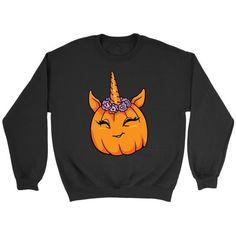 7ba1b9d02 Halloween Unicorn Pumpkin Crewneck Sweatshirt for Men Women Adults, Gifts  for Costume Party