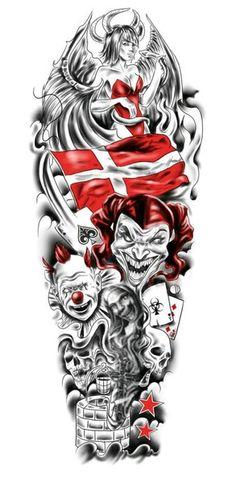 Full Sleeve Tattoo (Jester, Clowns, Skulls, Etc)… – Tattoo Designs! Half Sleeve Tattoo Template, Full Sleeve Tattoo Design, Half Sleeve Tattoos Designs, Angel Tattoo Designs, Arm Sleeve Tattoos, Tattoo Designs And Meanings, Tattoos With Meaning, Jester Tattoo, Clown Tattoo