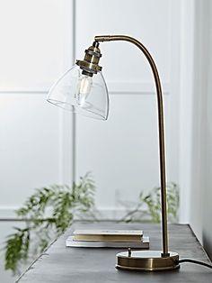NEW Domed Glass Desk Lamp - Brass - Table Lamps - Luxury Lamps & Lights - Luxury Modern Lighting Table Lamps Uk, Ceramic Table Lamps, Table Mirror, Glass Desk, Glass Table, Diy Floor Lamp, Bedroom Lamps, Wooden Bedroom, Modern Glass