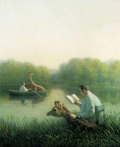 "Michael Sowa ""On Giraffe Pond"""