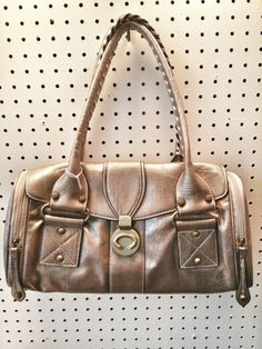 Leather Metallic Barrel Handbag