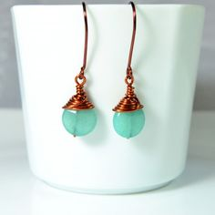 Blue Stone Earrings - Handmade unique Earrings. Designed with Copper Wire and natural blue Stone. Suitable for everyday use. Maintenance Advice: Copper Wire is coated with protective layer and doesn't change color.