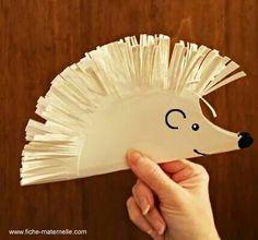 Paper plate hedgehog, great for scissor practice.