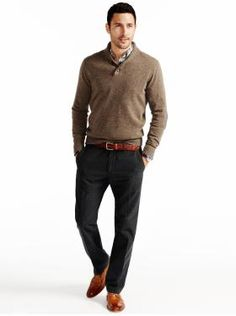 sweater, pants, shoes, belt.. entire ensemble for a business casual look in an Educational setting.