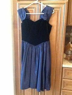 Vintage 80's 90's Prom Bridesmaid Dress Black Velvet Blue Taffeta 12 14 | eBay