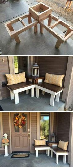 12 Creative DIY Corner Bench With Built-in Table Decor For Small Spaces – Runn. - 12 Creative DIY Corner Bench With Built-in Table Decor For Small Spaces – RunningAble Home Ideas - Pallet Furniture, Furniture Projects, Home Projects, Porch Furniture, Outdoor Furniture, Garden Furniture, Pallet Projects, Furniture Plans, Craft Projects
