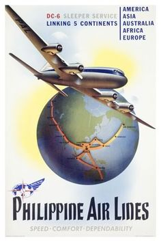 Vintage Philippine World Air Lines Poster Aviation Travel Poster - A large collection of Vintage Aviation Posters, Art, and Prints from Enjoy Art. Travel Ads, Airline Travel, Air Travel, Vintage Travel Posters, Vintage Airline, Retro Posters, Art Posters, Fantastic Voyage, Nostalgia
