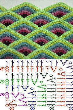 Pyramid Crochet Afghan Pattern Free - Her Crochet Crochet Squares, Point Granny Au Crochet, Crochet Motifs, Crochet Quilt, Crochet Blocks, Granny Square Crochet Pattern, Crochet Diagram, Crochet Stitches Patterns, Crochet Chart